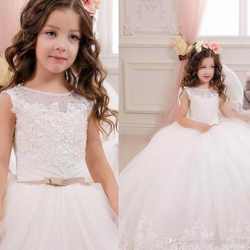 2021 nuevo encantador nuevo tul flores hechas a mano flores de un hombro vestido de niñas de niñas Pago de niñas Vestidos F5