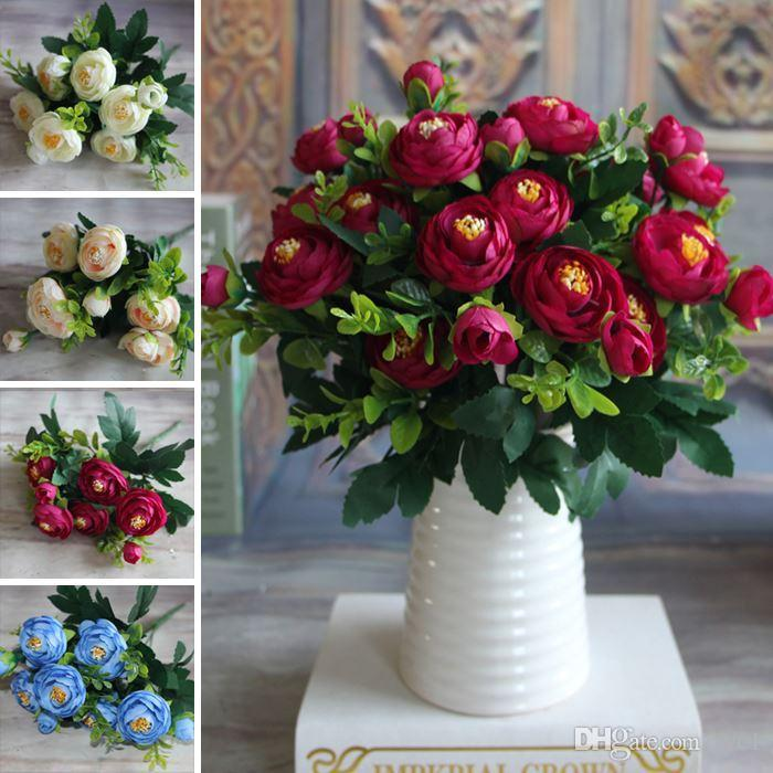 New Multi Color 6 Branches Spring Artificial Fake Peony Flower