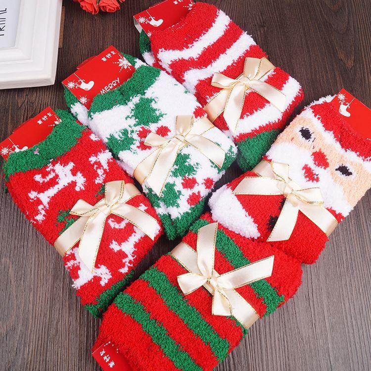 Coral Velvet Socks Christmas Santa Claus Reindeer Stripe Pattern Stockings Lovely Keep Warm Sleep Towel Sock Soft 3 5ld B R
