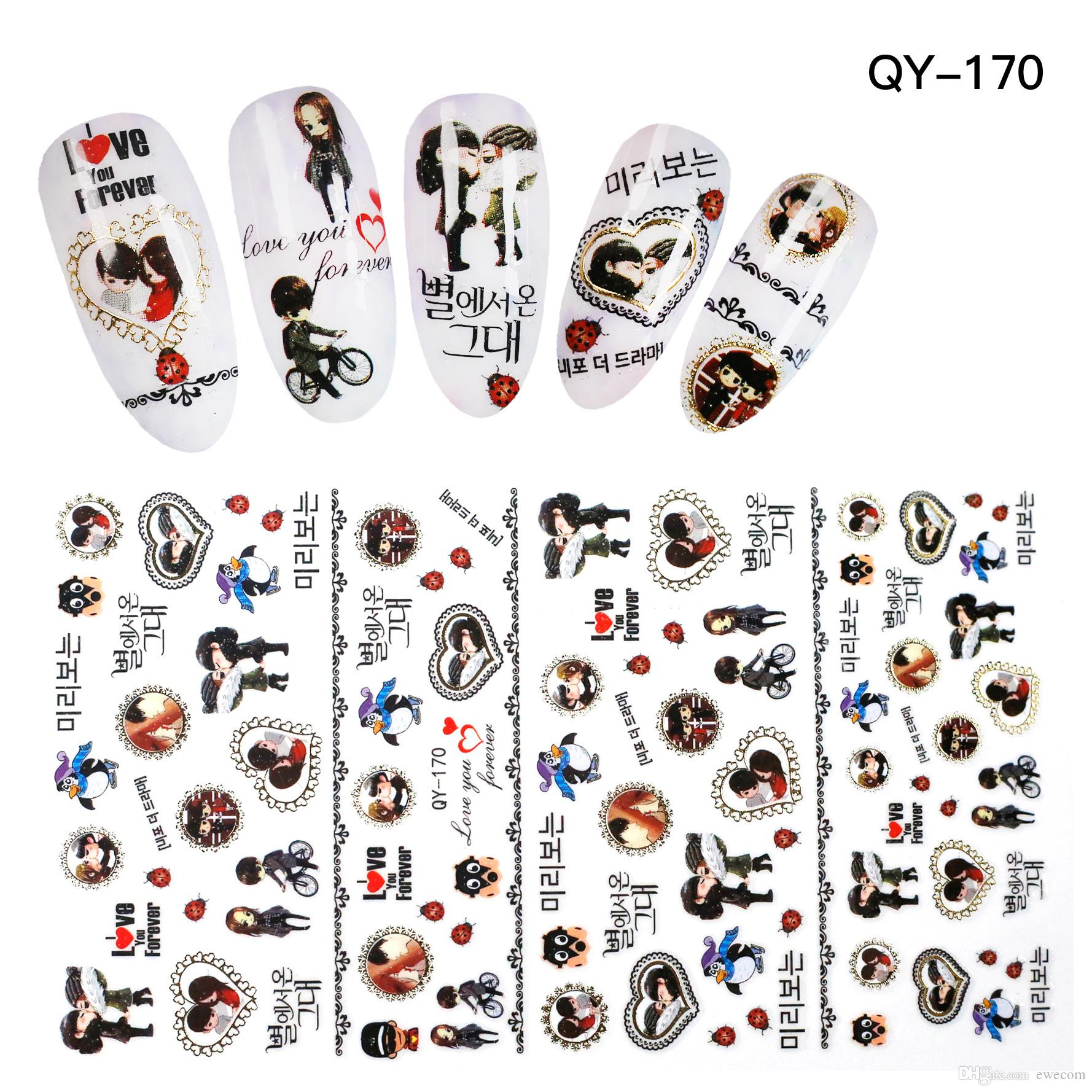 High Quality Cartoon Boy Girl Penguin Nail Art Stickers Decals Nail ...