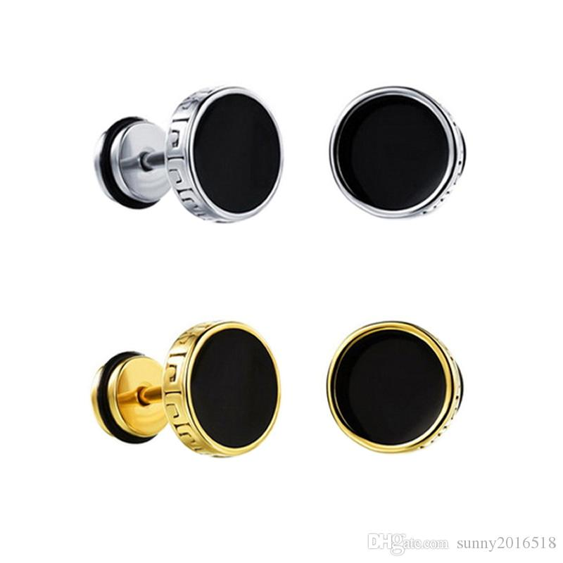 b3b859206e2f6 Unique Designer Round Ear Stud Earrings for Men Gold Silver Plated  Stainless Steel Dumbbell Earrings Punk Piercing Jewelry 8mm 10mm