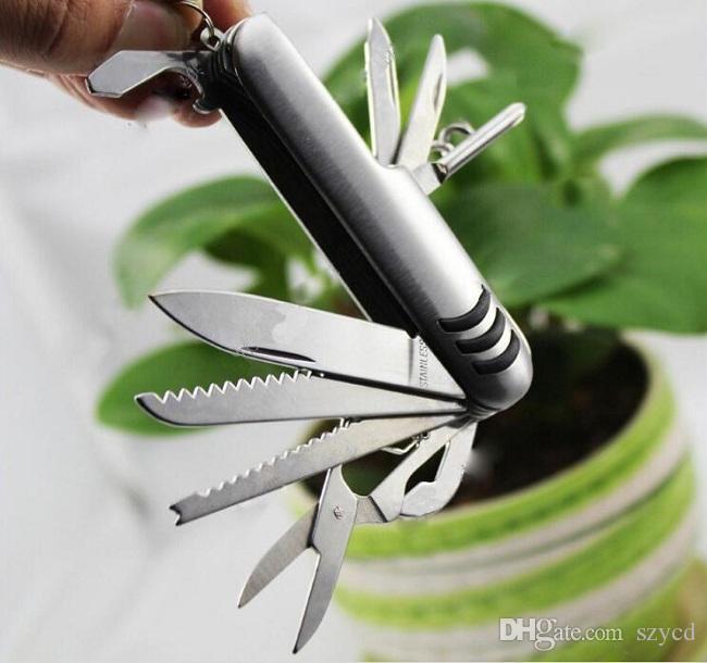 11-в-1Stainless стали мульти-инструмент швейцарский армейский стиль нож Складной нож открывалка для бутылок отвертка инструменты