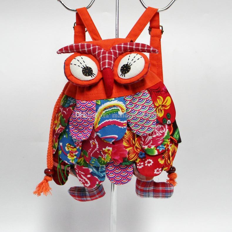 جديد للأطفال حقيبة الظهر الأزياء البومة نمط الطفل أطفال حقائب مدرسية الصين الخصائص الوطنية للكتفين حقيبة YC8107