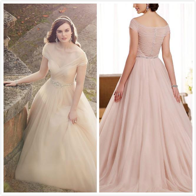 Wholesale 2016 New Bride Evening Dress Vintage Shoulder: Discount 2016 Off Shoulder Nude Tulle Wedding Dresses With