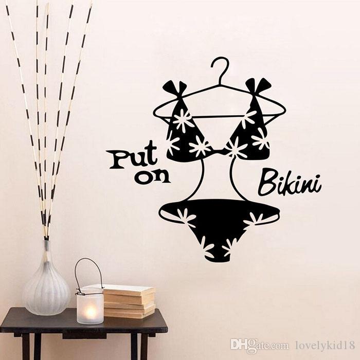 Lovely Put On Bikini Wall Stickers Fashion Closet Wall Decals Art - How do you put a wall sticker on
