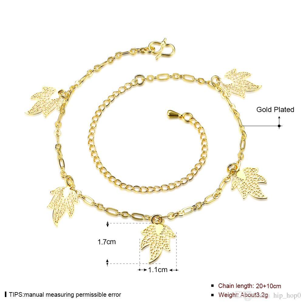 Leaf Anklet Bracelet Five Piece Maple Leaves Charms Ankets 24K Gold Plated Gold Jewelry European and American Popular Lady Accessories