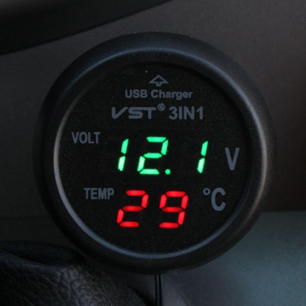 3 en 1 Digital LED termómetro del voltímetro del coche Auto Car USB Charger 12 V / 24 V medidor de temperatura voltímetro encendedor de cigarrillos