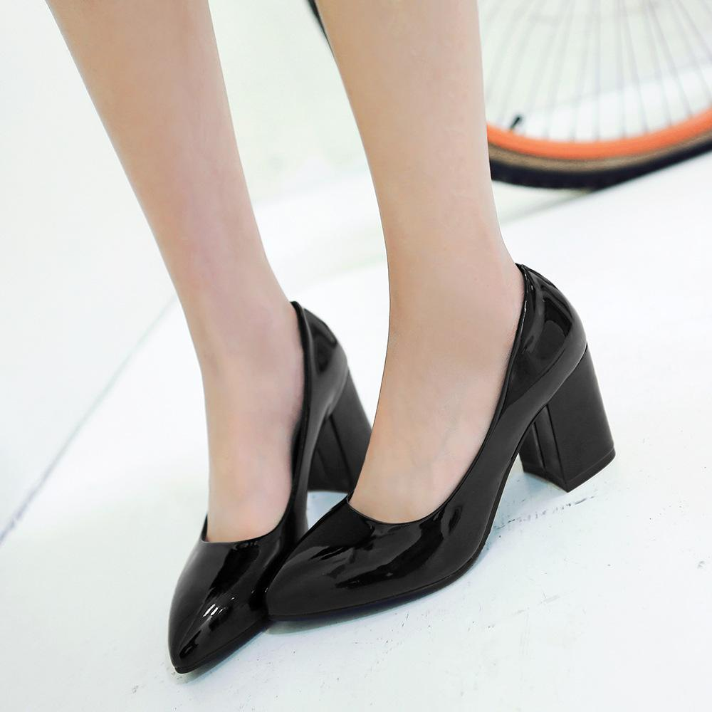 Women Work Shoes Round Toe Block Heels Professional Office Ladies ...