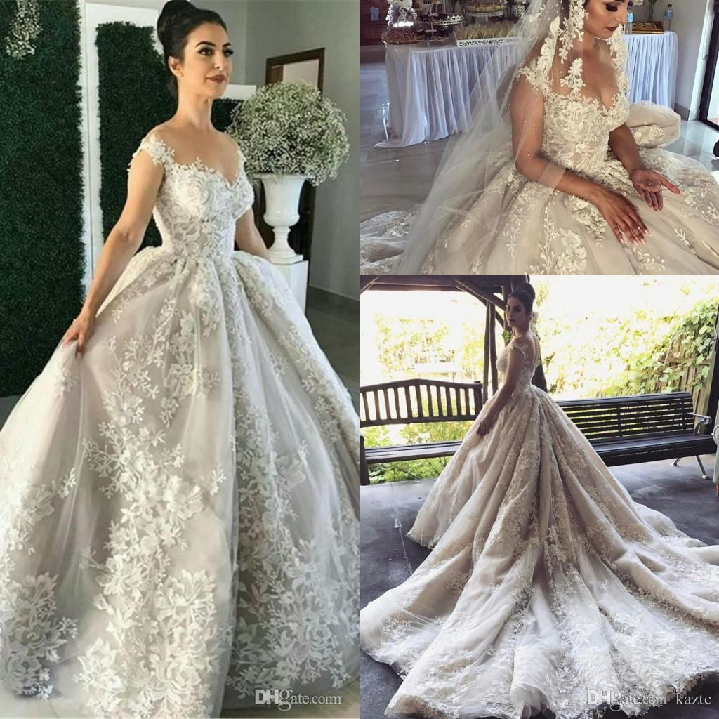 Discount Vintage Lace Ball Gown Wedding Dresses With Detachable ...