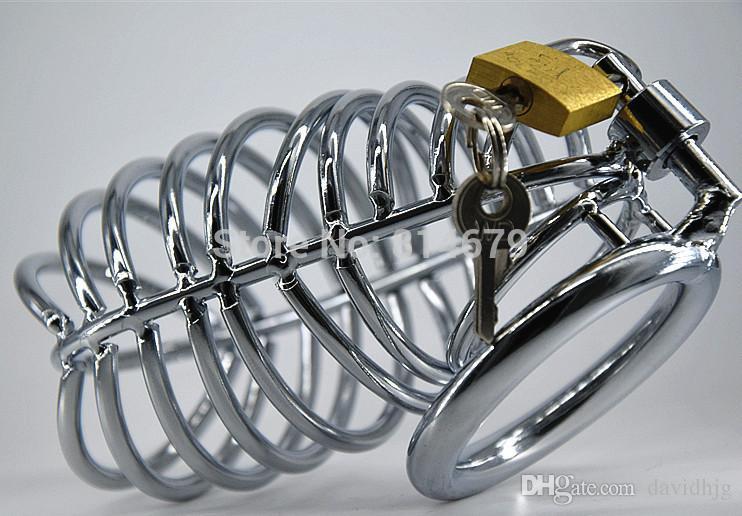 Envío gratis nuevo acero inoxidable Color de nuevo jaula del pene Jaula del pene con llave anillo del pene productos del sexo juguetes sexuales para hombres sm449