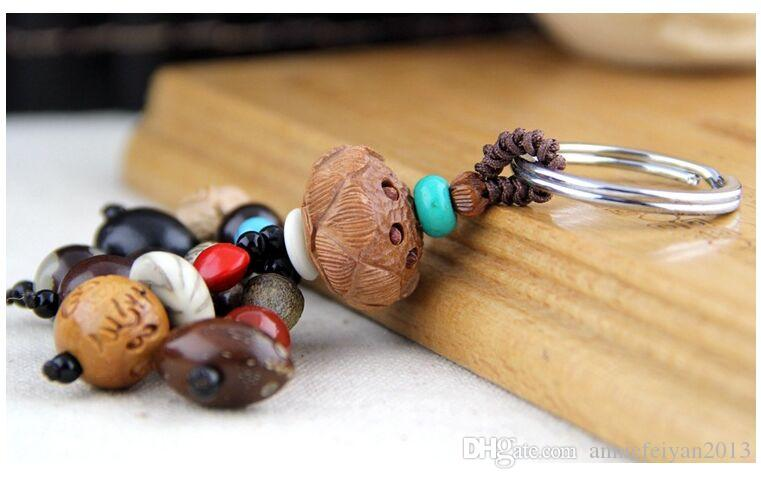 Natural Bodhi Keychain Car Key Rings Hand String Eighteen PuTizi Peace Pendant Keychain Key Rings Mobile Phone Chains
