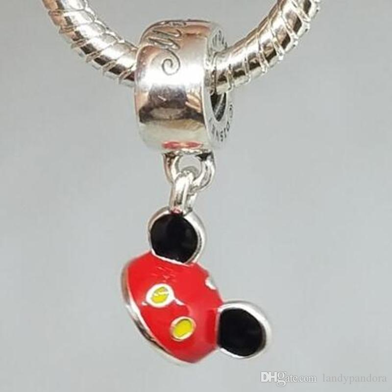 eb9f96cce 100% S925 Sterling Silver Mouse Ear Hat Dangle Charm Bead with Red ...