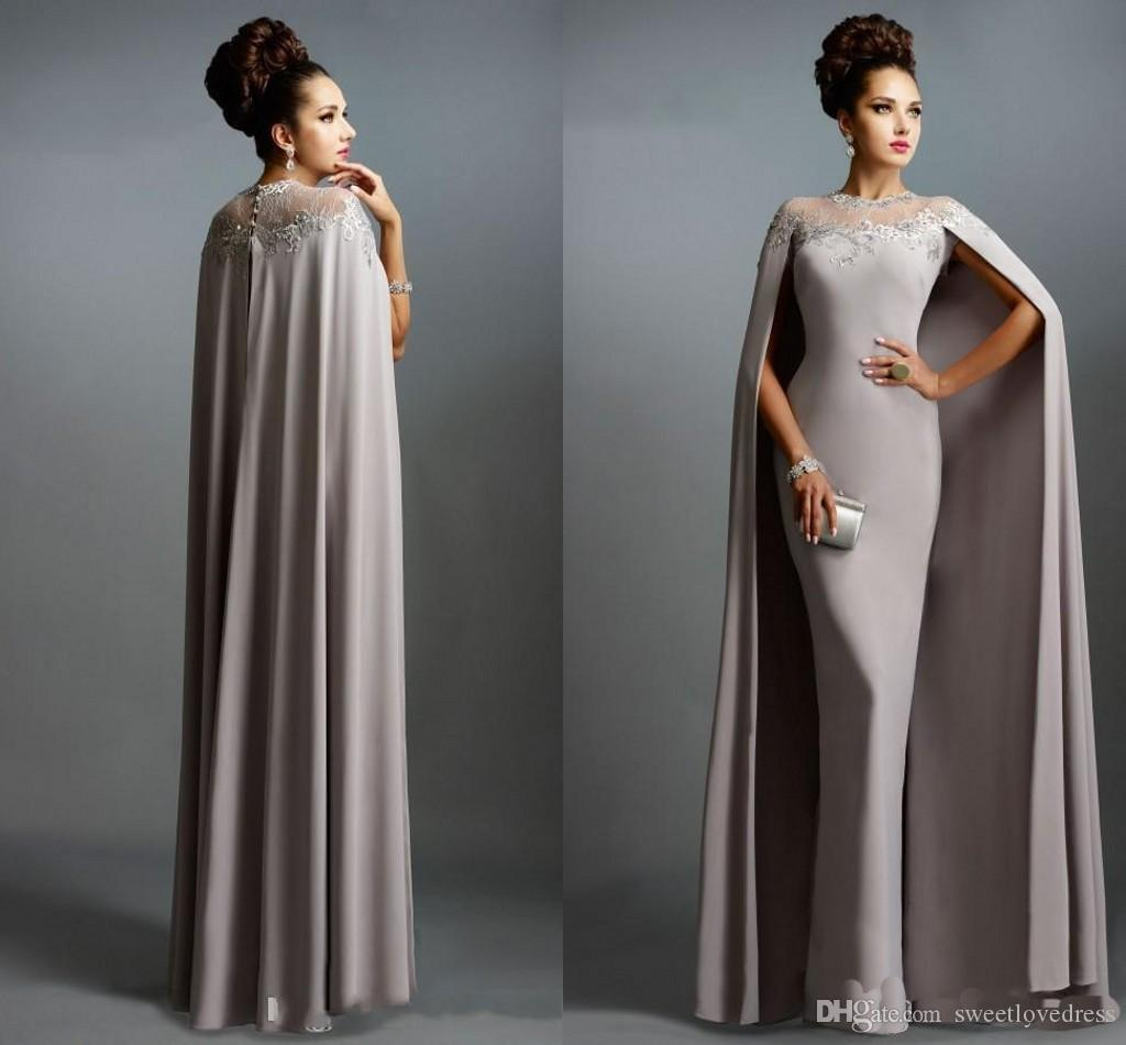 2019 Sexy Formal Evening Dresses Gray With Cape Ruffles Lace Edged Cheap Long Sheer Prom Party Gowns Evening Wear Dress