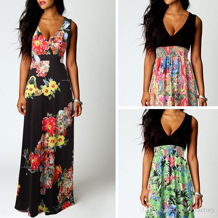 358663248 2016 Vestidos bohemios de verano Falda larga Ropa sin mangas Vestido  informal de una pieza de una falda de cuerpo entero para mujer Ropa de  impresión ...