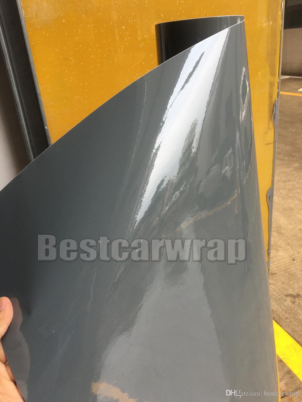 3 strati cemento grigio lucido in vinile in vinile come 3m cemento ultra lucido cemento cappotto cappotto pelle con aria Dimensioni gratis: 1.52 * 20m / rotolo 5x66ft