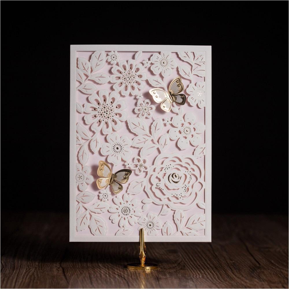 Wholesale Laser Cut Wedding Invitation White Hollow Flower Birthday ...