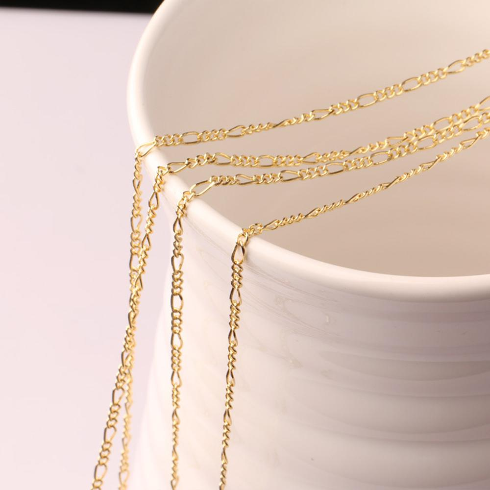 Fashion 18K gold plated and 925 sterling silver plated 2mm Wide Heavy Figaro Necklace Women Chains Men's