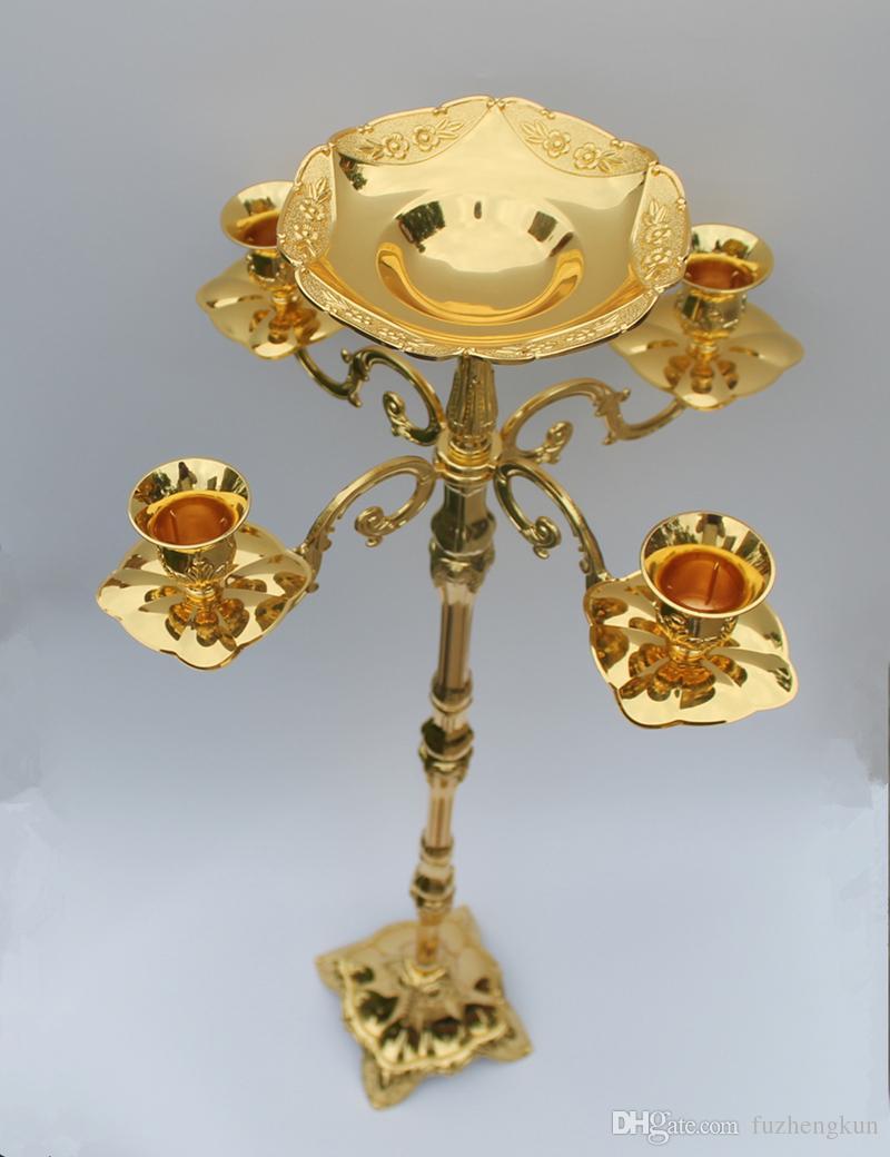 Candélabre de sol en métal plaqué or de 85 cm, bougeoir en or pur avec un joli bol de fleurs
