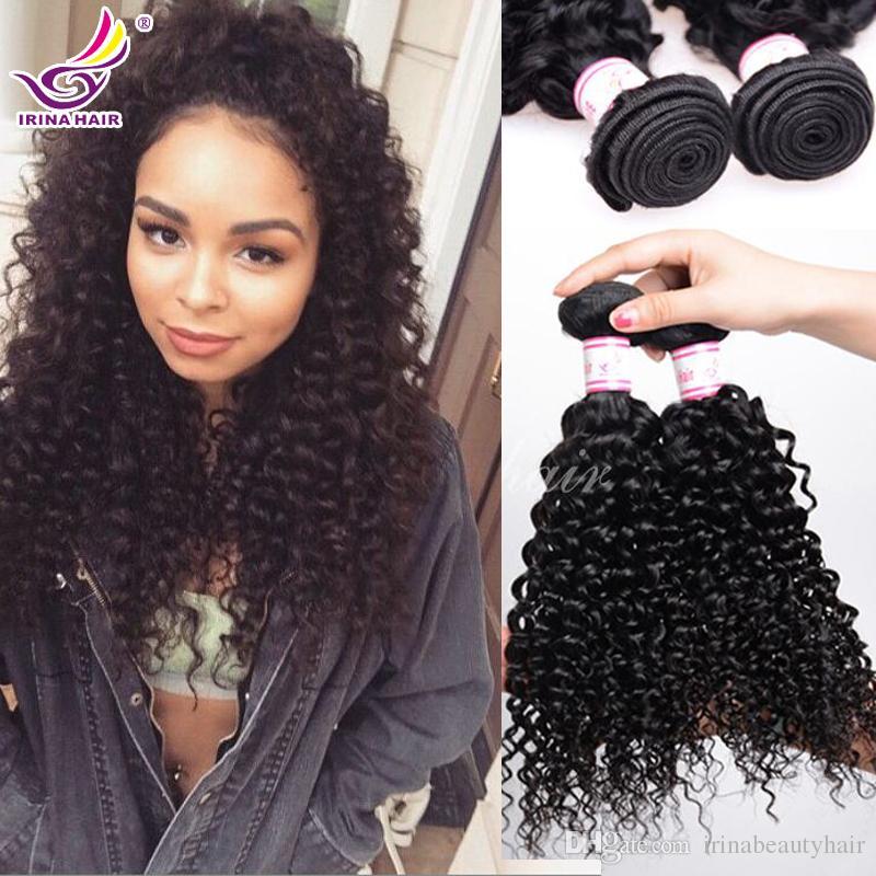 ¡50% de descuento! Irina que teje el cabello rizado brasileño afro rizado rizado paquetes sin procesar jerry rizo humano virgen armadura del pelo bohemio