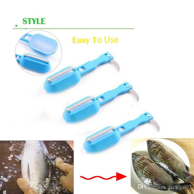 kitchen tool cleaning fish skin steel fish scales brush shaver Remover Cleaner Descaler Skinner Scaler fishing tools kni