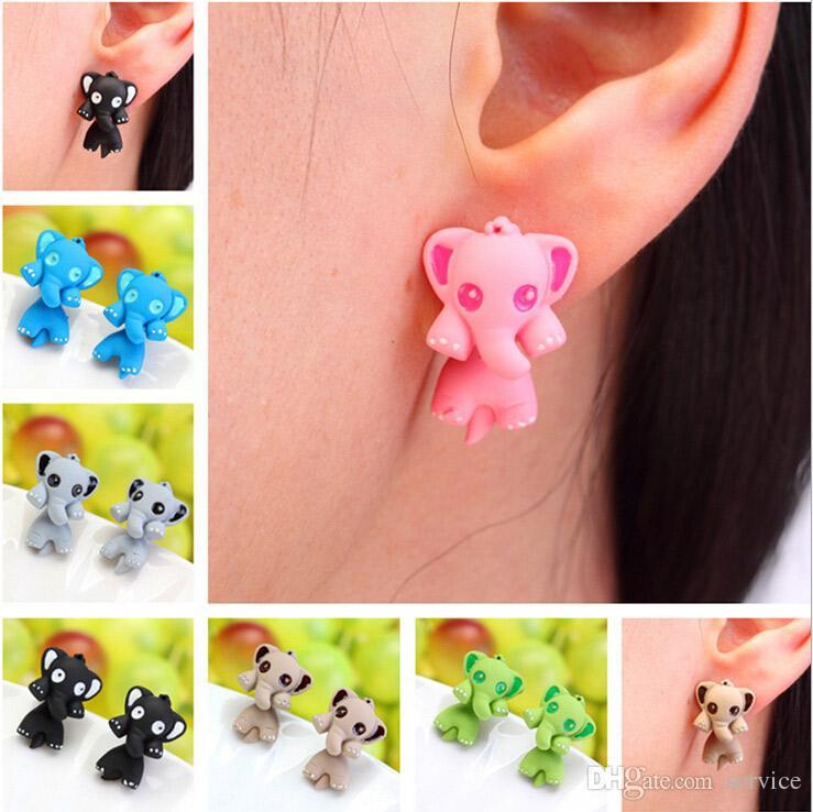 Fashion Women's Girl's Elephant Puncture Ear Stud Piercing Earrings Crystal Alloy Cute Elephant Stud Earrings 2016