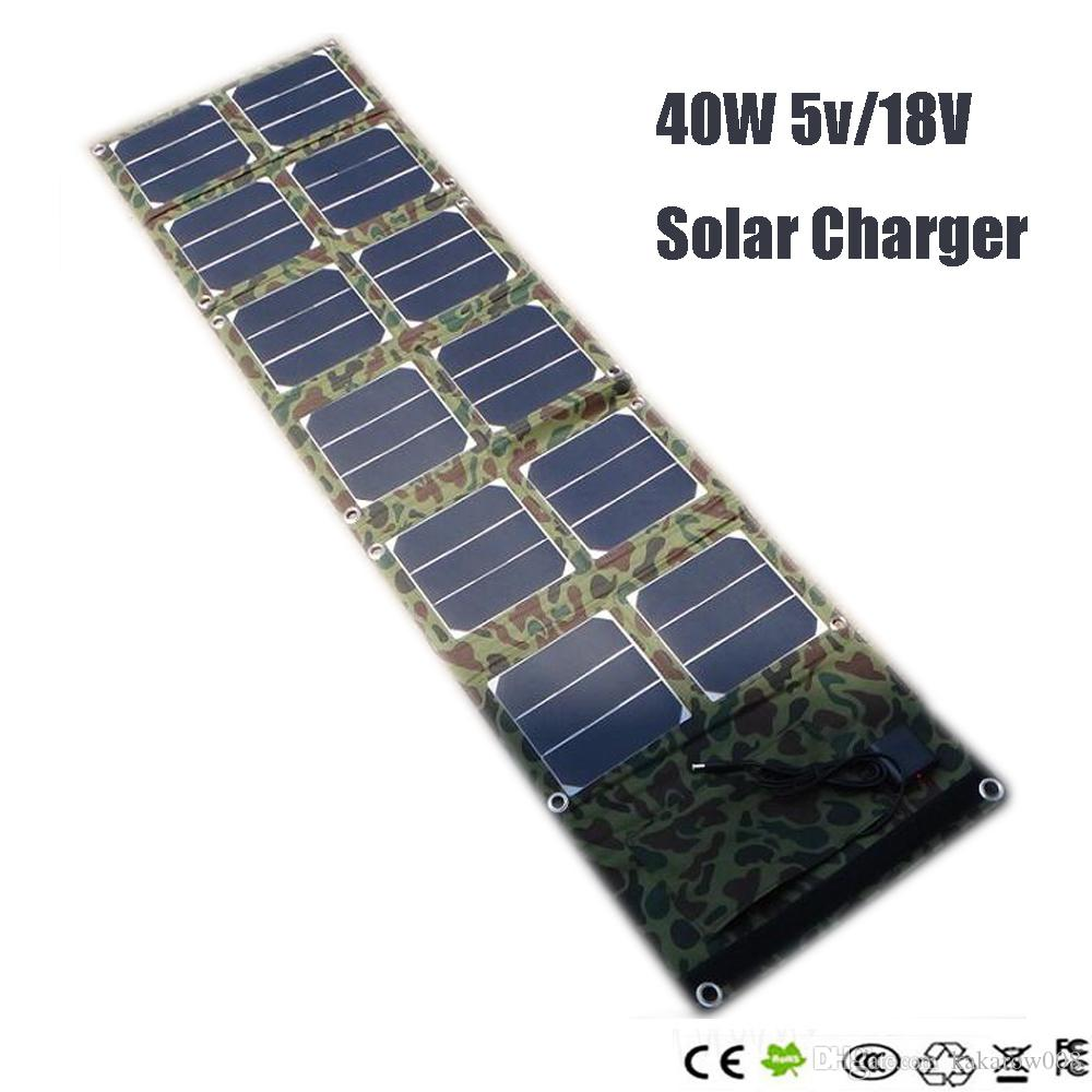 40w 18v/5v Dual output waterproof outdoor foldable folding solar panel charger external 12v battery device charger