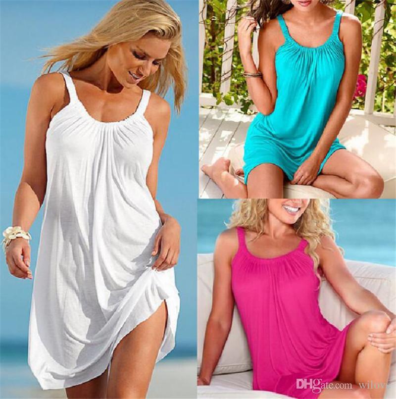 Vestido de playa sexy de moda vestido de verano correa de las mujeres faldas ocasionales sin mangas cabestro cuello redondo flojo más el tamaño