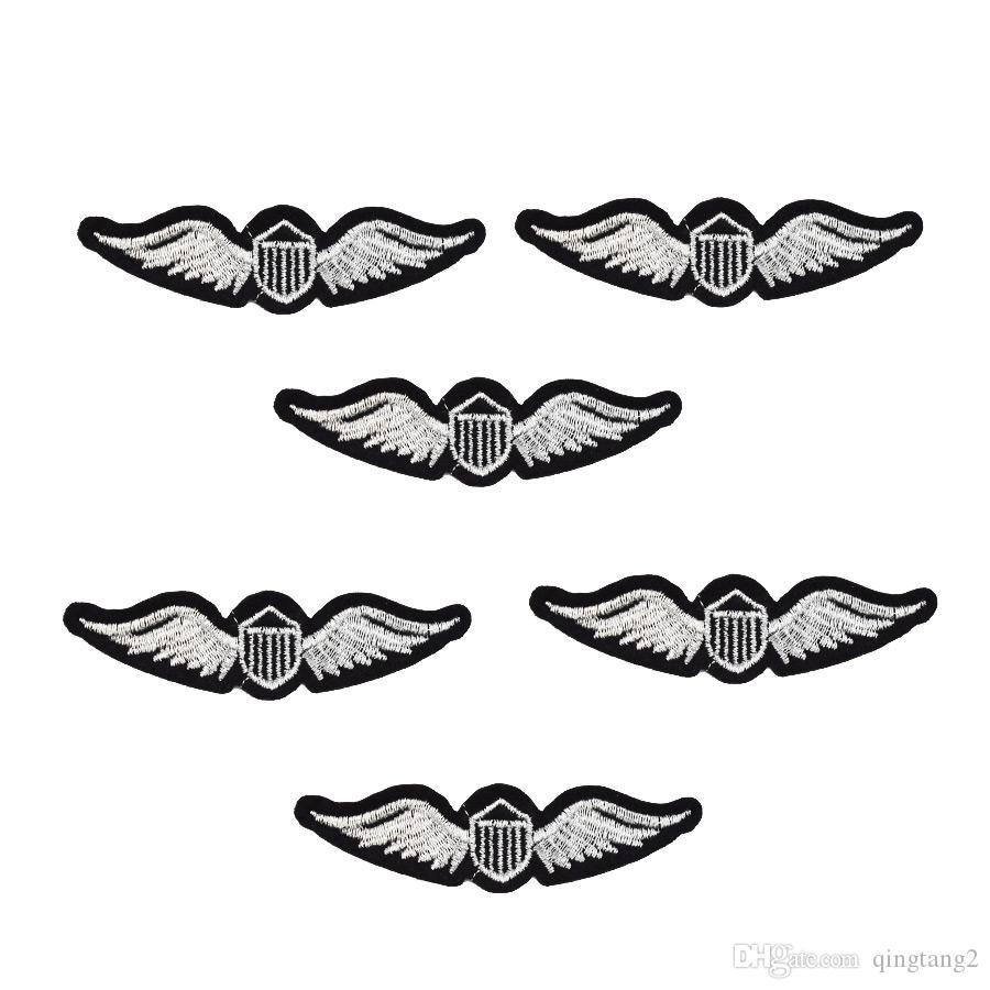 silver wings badge embroidery patches for clothing applique iron on patches sewing accessories badge stickers on clothes iron-on patch