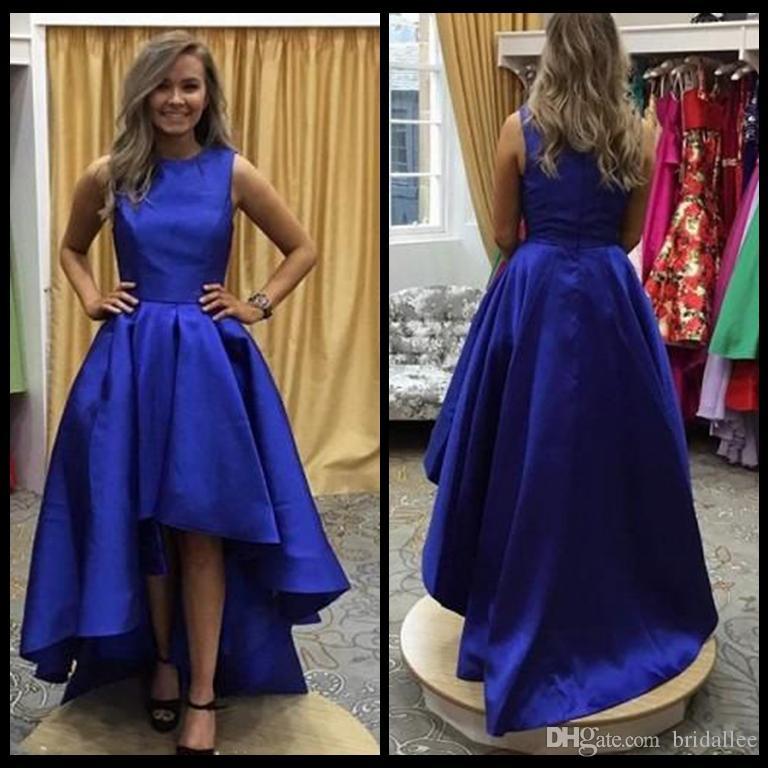 Großhandel 2018 High Low Abendkleider Blue Jewel Neck Sleeveless ...