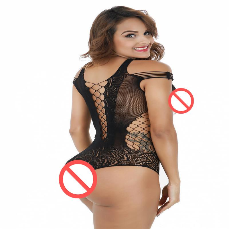 Leaking breasts sexy lingerie transparent hollow out pajamas, even the body stocking net lace seamless mesh temptation