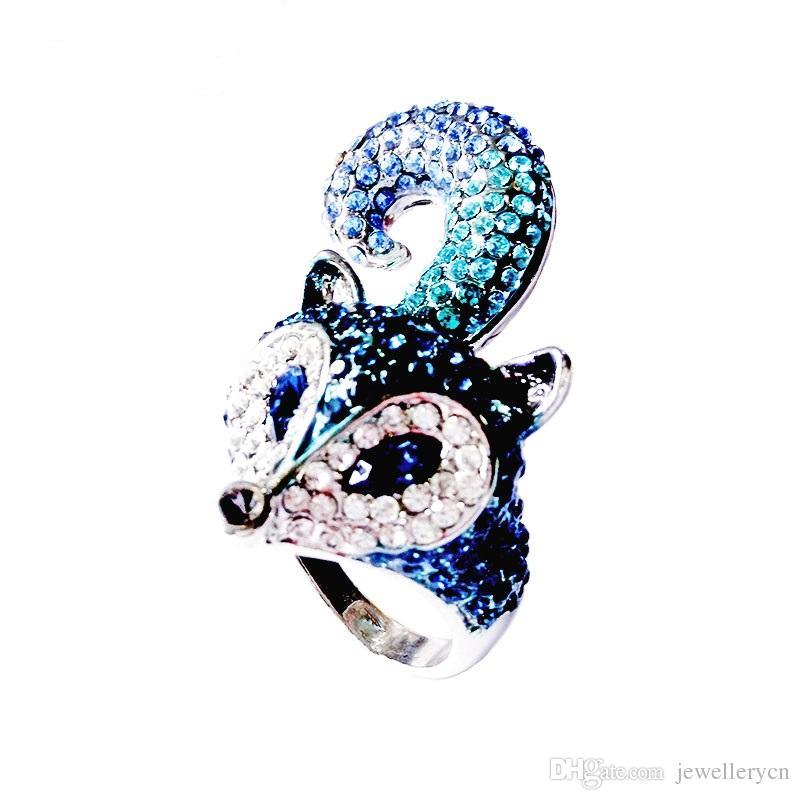 Elegant Design Djur Fox Cocktail Ringar För Kvinnor Utseende Smycken Med Blå CZ Diamant Förlovningsring Femme, RN-384B