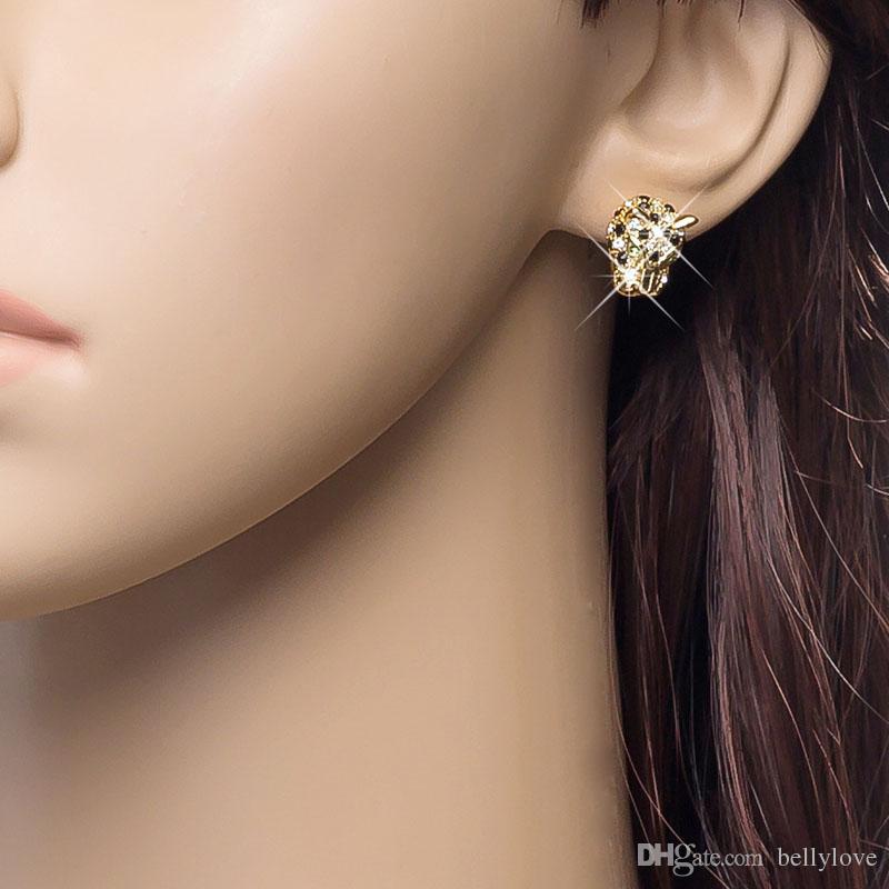 Мода животных ювелирные изделия 18K желтое золото покрытием многоцветный Кристалл кластера Тигр серьги для женщин лучший подарок