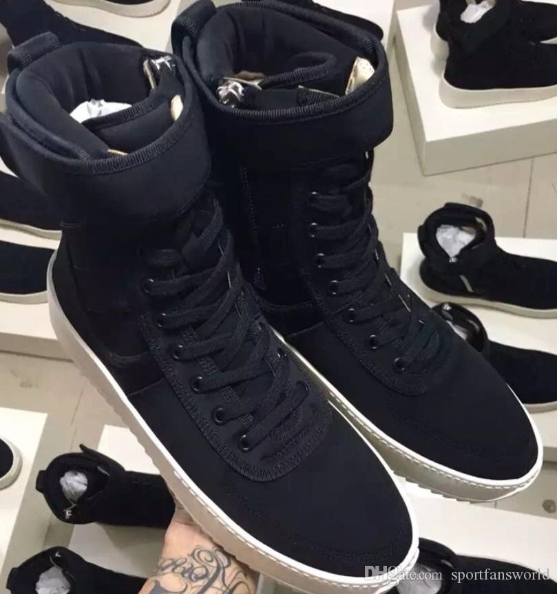 9dc001121610 2019 DHL Free Size 34 46 Fear Of God Military Sneaker Black Nylon Jerry  Lorenzo Fog Made In Italy Military Boots Winter Boots From Sportfansworld
