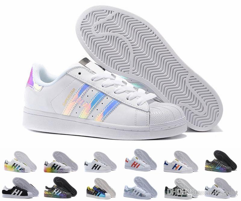 Superstar Original White Hologram Iridescent Junior Gold Superstars Sneakers Originals Super Star Women Men Sport Running Shoes 36-45 Superstar Shoes ...