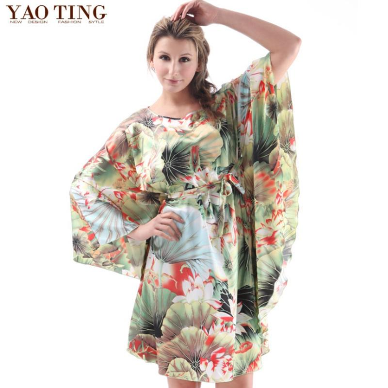 Wholesale- Plus Size Women New Arrival Robe Chinese Style Kimono Hand-Made Painted Kaftan Robe Gown Bathrobe Sleepwear Robes