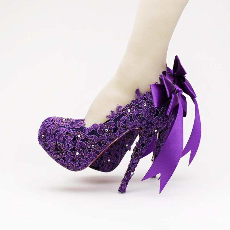 Purple Wedding Heel.High Heel Fashion Fower Rhinestone Bridal Shoes Purple Lace Wedding Shoes Beautiful Platform Crystal High Quality Women Pumps