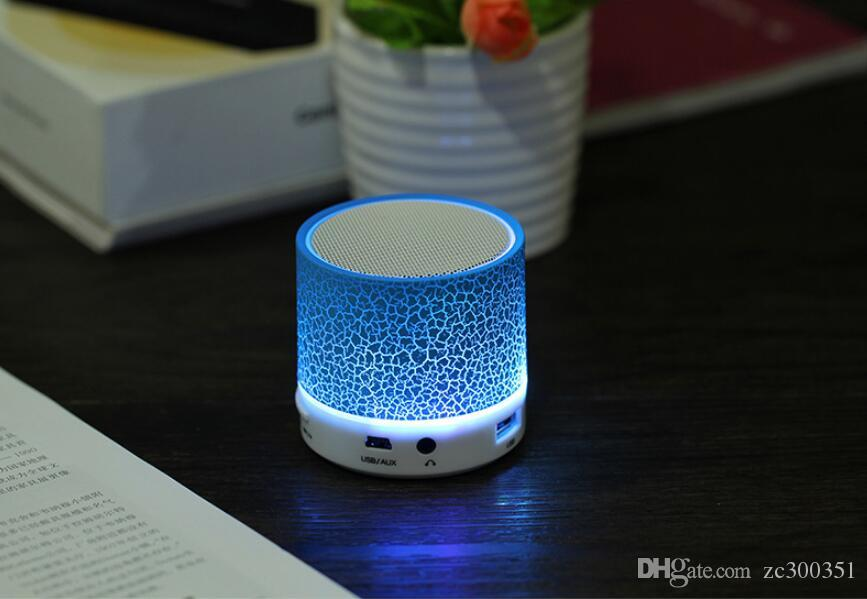 Portable Bluetooth Stereo Speakers Smart LED Light Crack Mini Wireless Bluetooth Speaker Support TF card/USB flash drive