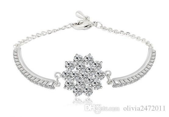 Rhinestones Chain and Glittering Cubic Zirconia Flower Bracelet White Rose Gold Plated Jewelry For Women Top Quality TM