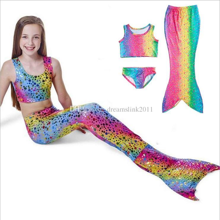 2018 Girls Kids Mermaid Tail Swimming Bikini Set Swimwear