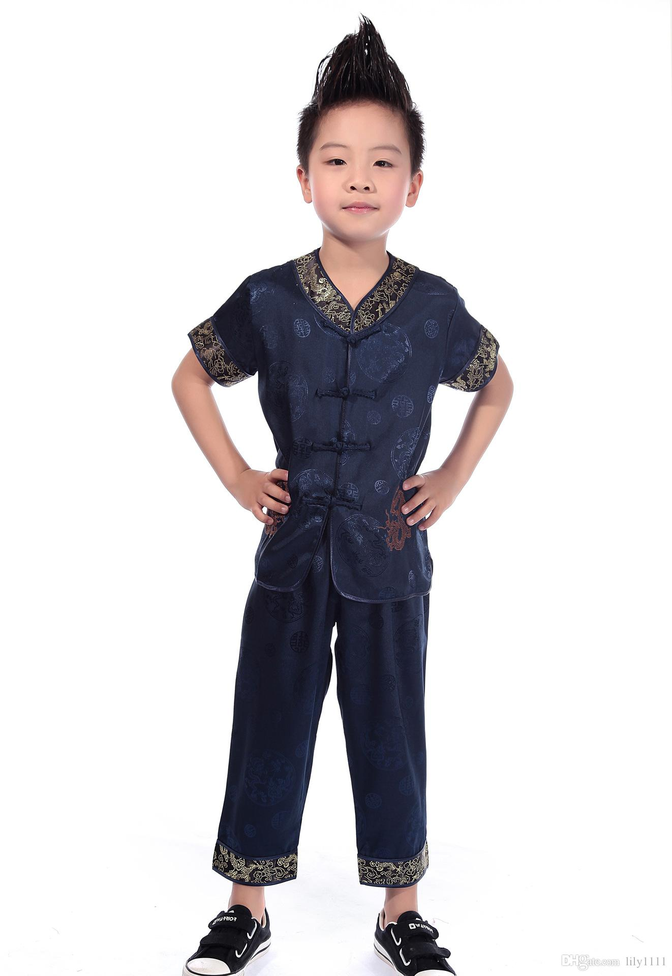 Shanghai Story Traditional Chinese Boy Dragon Kung Fu Suit Tang Costume tai chi uniform