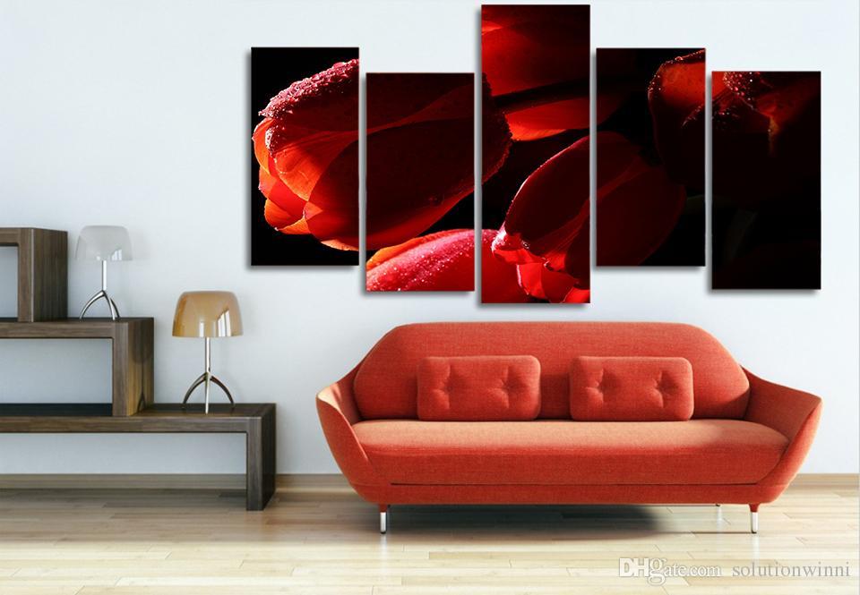5 панель HD напечатаны красные тюльпаны цветы картина маслом на холсте украшения комнаты печать плакат картина холст Калла Лилия картина маслом