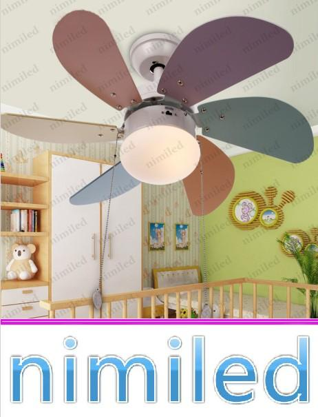 nimi826 6-Blade Creative Wooden Blade Children s Room Ceiling Fans Lamp  Lighting Bedroom Cartoon Art Glass Lampshade Fixture