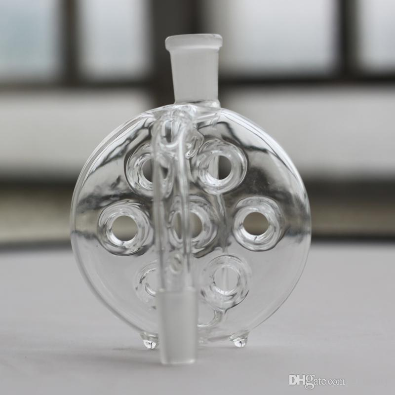 Wholesale Glass Ash Catcher swiss perc Ashcatcher with hole 14.4mm 18.8mm joint male female for Glass Bongs Glass smoking accessories