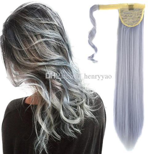 Long magic tape colorful granny silver grey straight ponytail hair long magic tape colorful granny silver grey straight ponytail hair pieces cosplay party synthetic bundled hair extensions 24inch 100g hair pieces for pmusecretfo Images