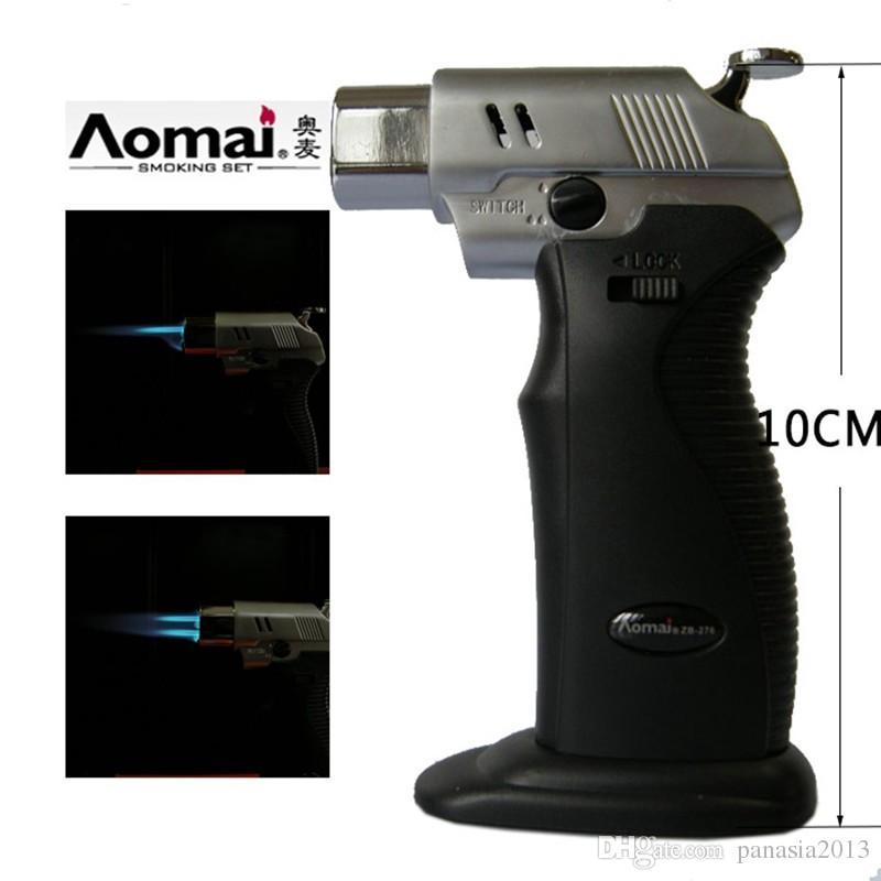송료 무료 AOMAI 듀얼 화염 납땜 납땜 조정식 화염 부탄 가스 제트 담배 용접 토치 라이터