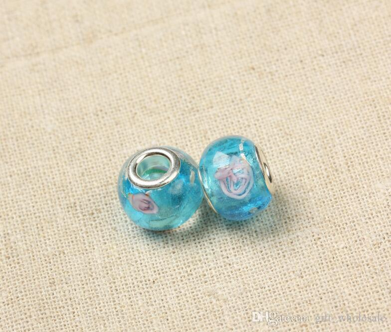 925 marked silver glass Bead Charms Fit DIY Bracelet for choices
