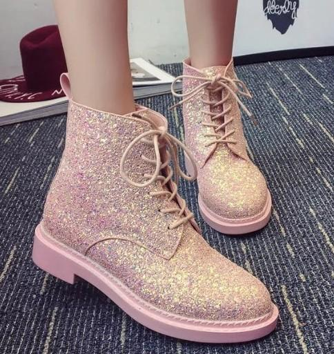 Girls Pink Martin Boots Glitter Ladies Shoes Lace Up Platform Shoes Bling  Bling Botas Mujer Shiny Leather Woman Botas Designer 178 Wedge Boots  Waterproof ... 957810012960