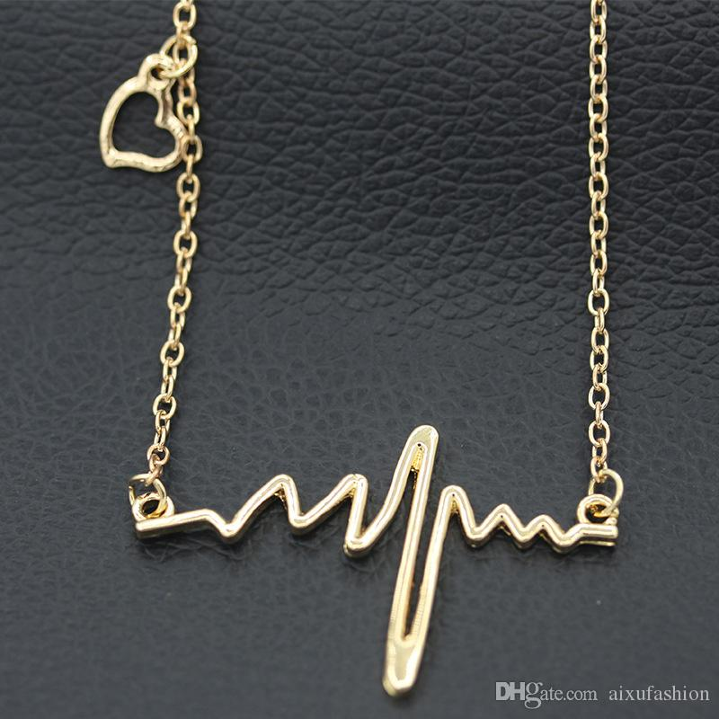 Neue Frequenz Welle Anhänger Halskette Goldsplitter Black Alloy Choker Schmuck Frauen Anhänger Nette Delicate Erklärung Halsketten