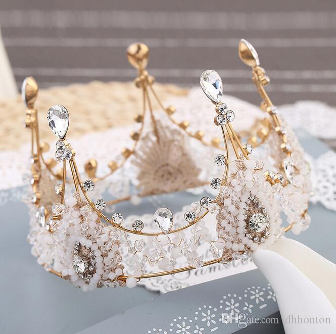 luxuryCrown свадебные диадемы кристаллы свадьба Корона принцесса большой полный роскоши CrownHeadband аксессуары для волос партия свадьба тиара HT141