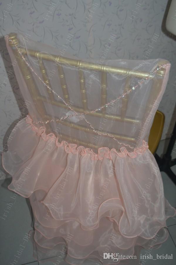 2016 Custom Made Orange Ruffles Flower Chair Covers Romantic Beautiful Organza Chair Sashes Cheap Wedding Chair Decorations 07